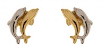 Juwelier Vanquaethem Kinderoorringen Goud 18 Karaat - dubbele dolfijn