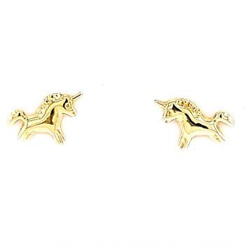 Juwelier Vanquaethem Kinderoorringen Goud 18 Karaat - unicorn