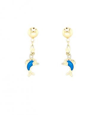 Juwelier Vanquaethem Kinderoorringen Goud 18 kt - Dolfijn