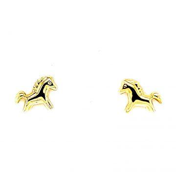 Juwelier Vanquaethem Kinderoorringen Goud 18kt. - paardjes