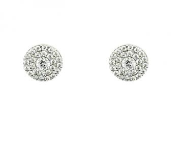 Juwelier Vanquaethem Oorringen - Wit Goud 18 Karaat - Zirconium